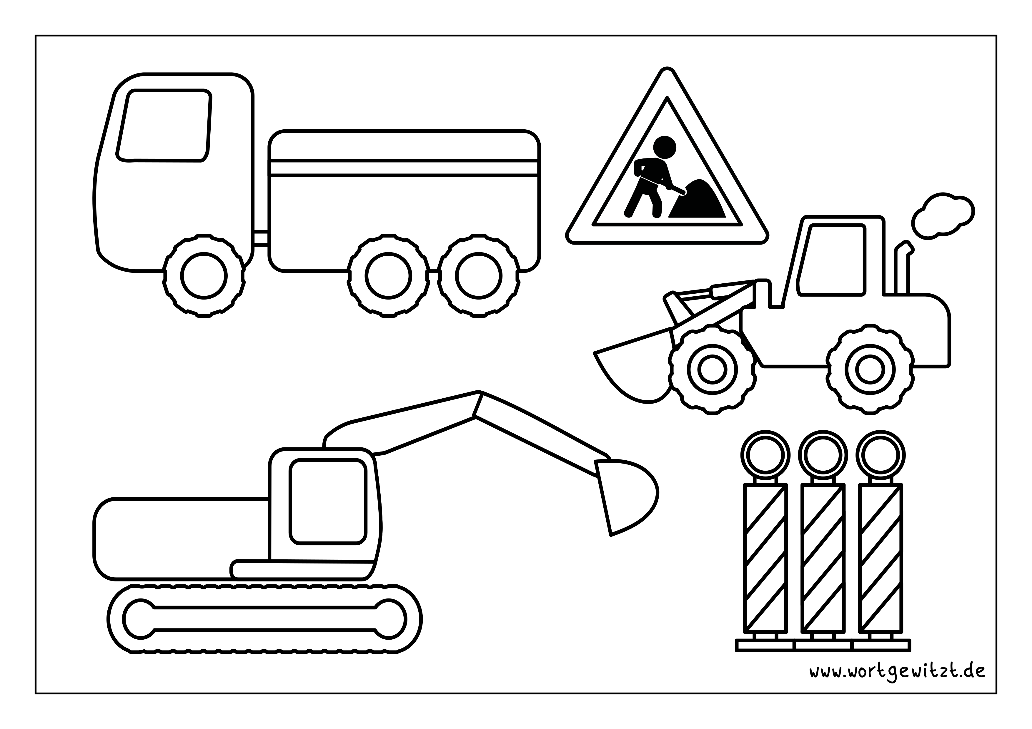 Ausmalbild Baustellenfahrzeuge  Ausmalbild, Ausmalen