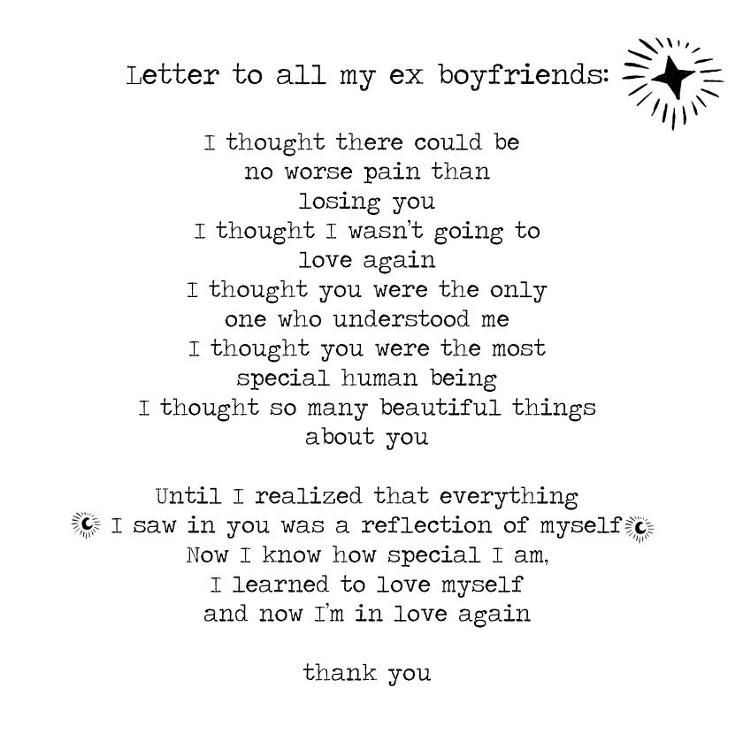 A letter to all my ex boyfriends | Black and white | Ex boyfriend