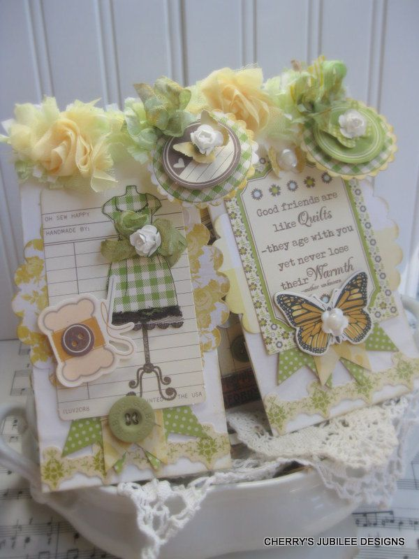 Vintage style friendship sewing stitched pocket with two handmade treat bags and 5 tags gift decoration
