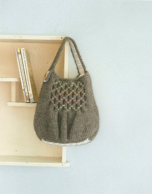 Anese Knitted Tote Bag With Smocking Sches Pattern Craft Crochet Book 120278 04