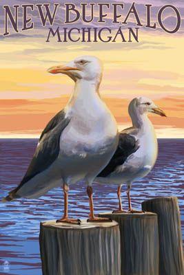 New Buffalo, Michigan - Seagull Scene - Lantern Press Poster