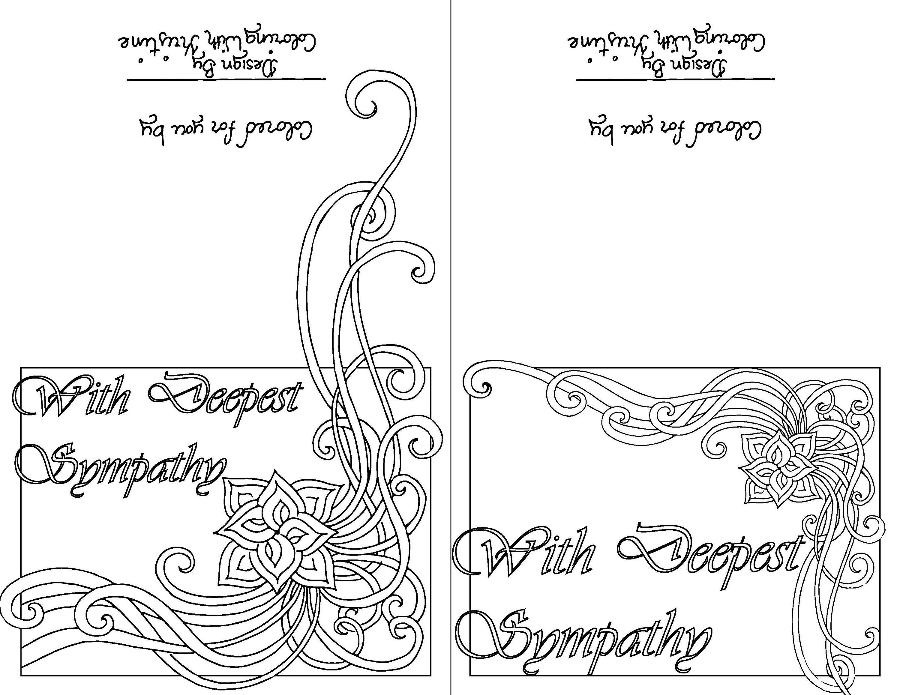 Color Your Own Sympathy Card-Sets of Ten-Instant Download
