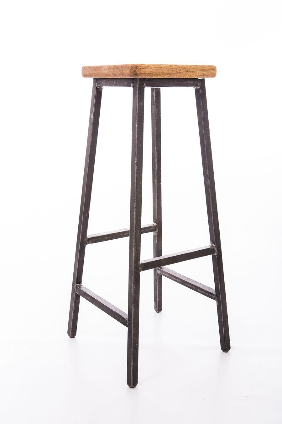 Industrial Steel And Oak Square Seat Barstool Meuble Metallique