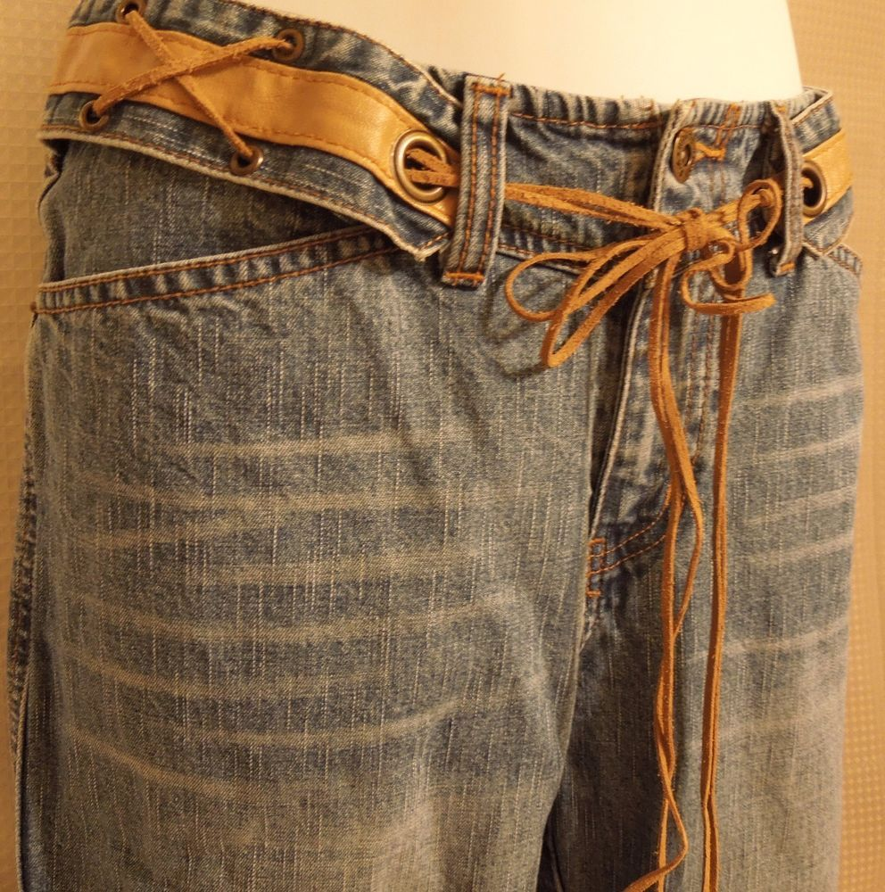 #Vintage Sz 8 Jeans #Boho #Hippie #Western #Indie Tie Brass Leather  #BootCut #Fashion #Jeans