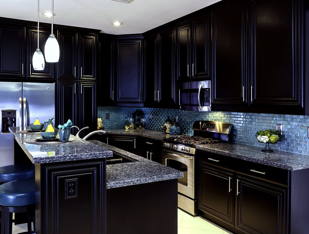 Tansitional Style Las Vegas Kitchens Design With 2 Tier Black Kitchen  Islandsu2026