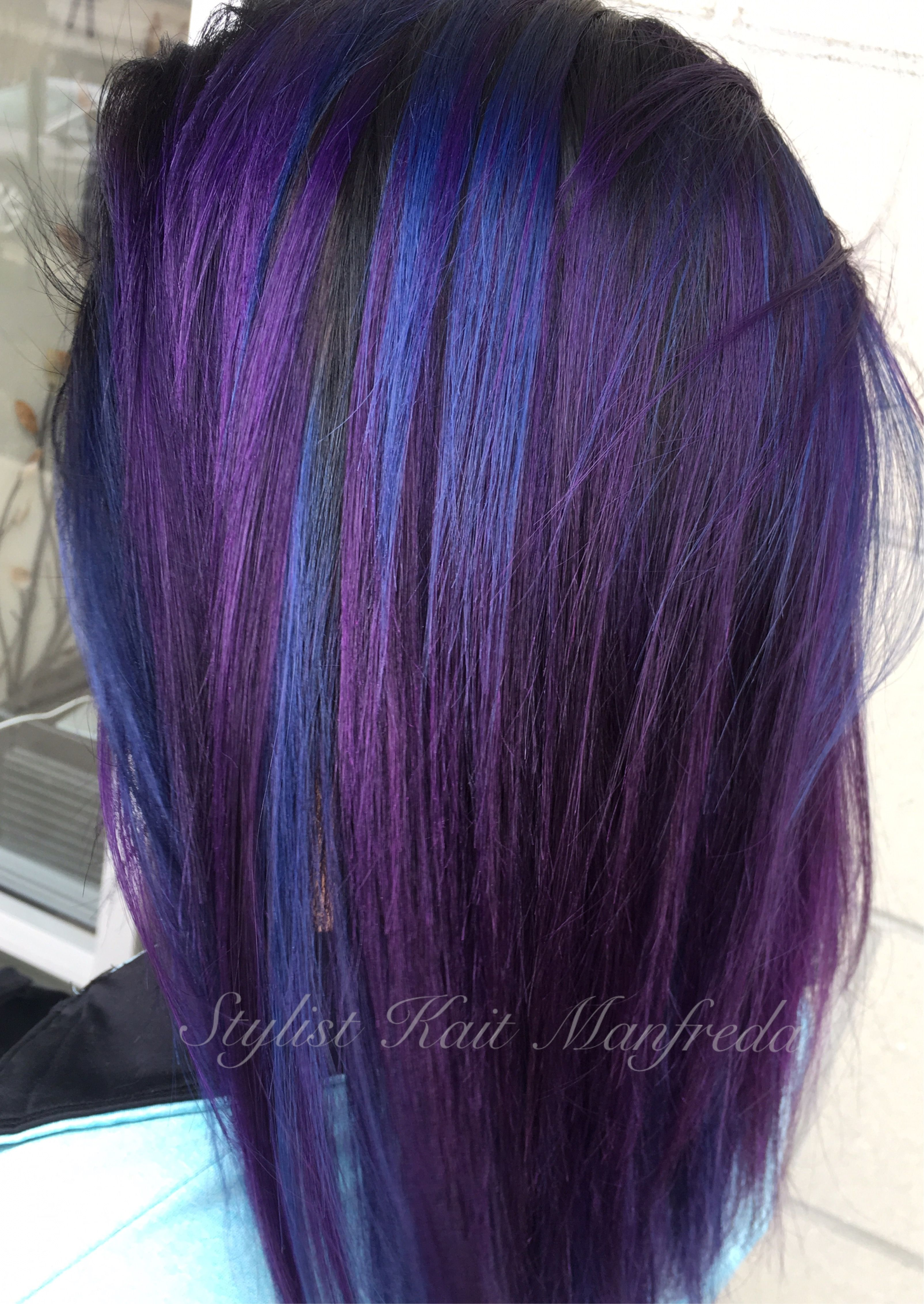 Blue And Purple Hair With Black Shadow Root Using Joico Intensity Colors By Stylist Kait Manfreda Purple Hair Vivid Hair Color Hair Color Purple