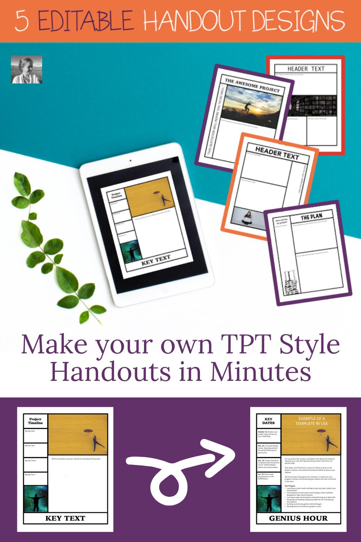 Editable Handout Templates For The Graphic Design Junkie Ela Lesson Plans Handouts Creative Lesson Plans