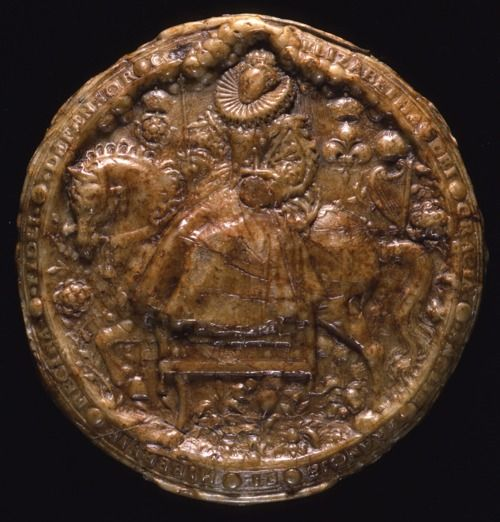 The front of the Great Seal of Elizabeth I. The Great Seal was used by the Chancery, the Tudor Civil service, to show that the document attached was ordered in the Queen's name. The pattern for this seal was produced by the artist Nicholas Hilliard in 1586.