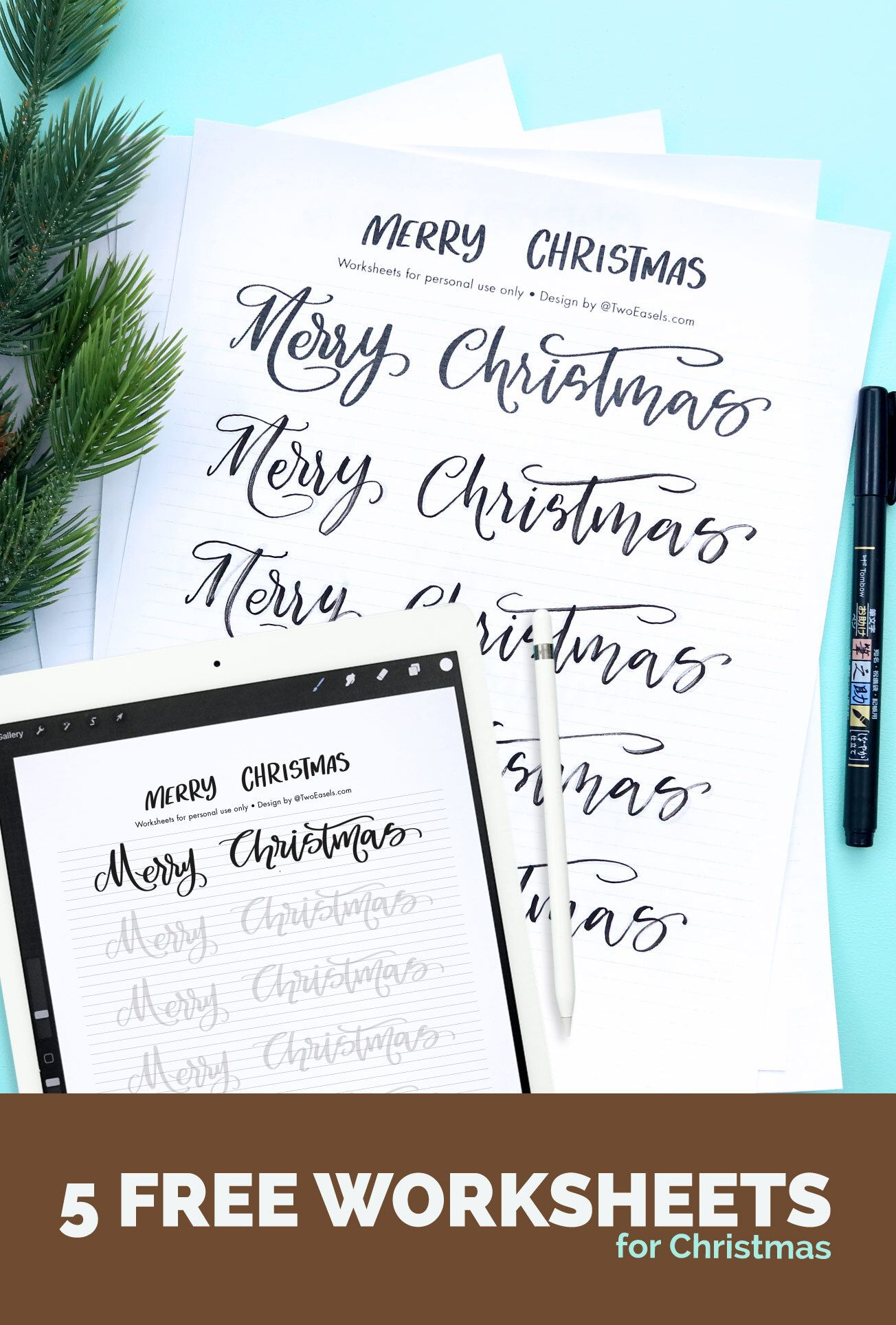 Merry Christmas Lettering Worksheet Freebie In 5 Styles