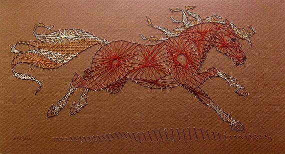 String Art Pony Curve Stitching Horse Horses Chestnut