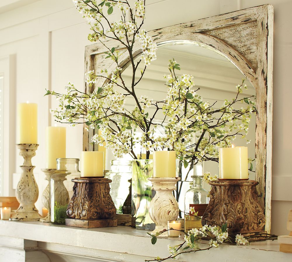 Pottery Barn Mantel Decor Mirror Reflects Light So Can Brighten A Dark E Such As