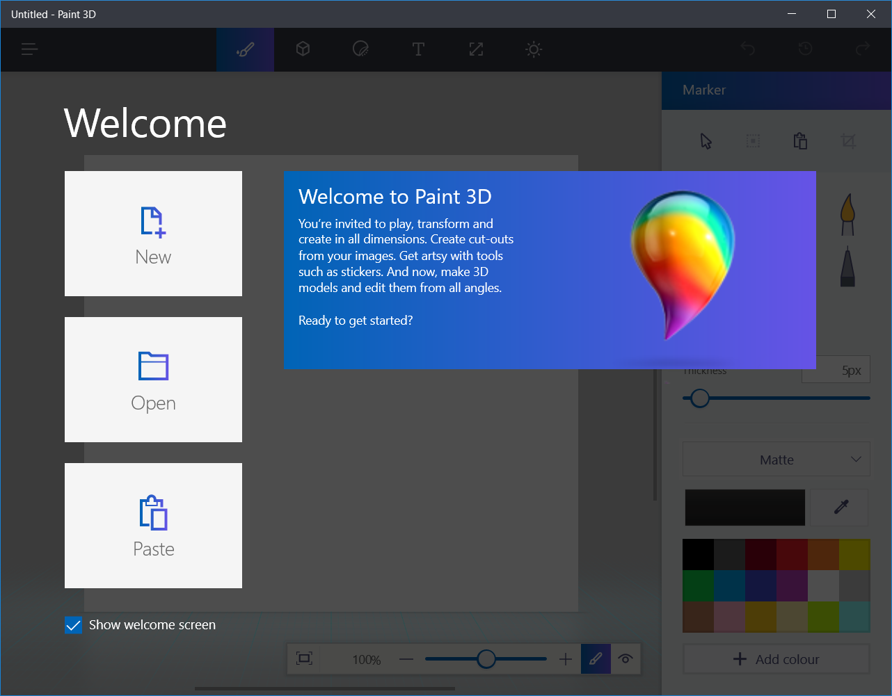 Screenshot of Paint 3D with Screen in Windows 10