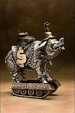 "Armored Pig by Scott Nelles (Metal Sculpture) (12"" x 7"")"