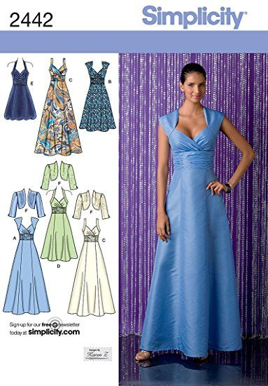 Simplicity Designs by Karen Z Pattern 2442 Misses Dress in 3 Lengths with Bodice Variations and Bolero Sizes 6-8-10-12-14
