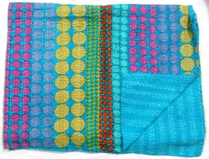 ETHNIC INDIAN KANTHA QUILT QUEEN BEDSPREAD BLANKET THROW COVERLET HOME DECOR ART