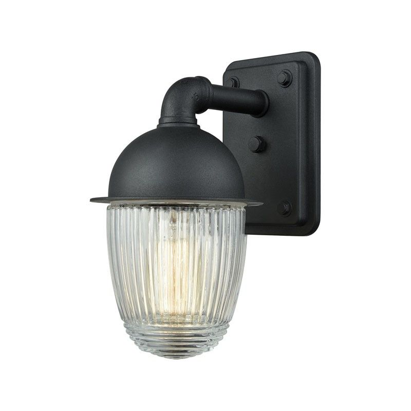 Elk Lighting 45250 1 Channing 1 Light Outdoor Wall Sconce In Matte Black With Clear Ribbed Glass Outdoor Sconces Outdoor Wall Sconce Outdoor Wall Lamps