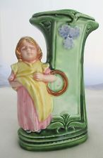 Majolica Vase with Girl and Flowers
