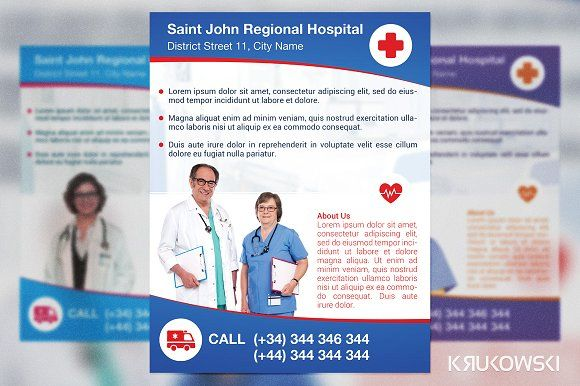 Hospital Flyer by Krukowski Graphics on @creativemarket Awesome - hospital flyer template