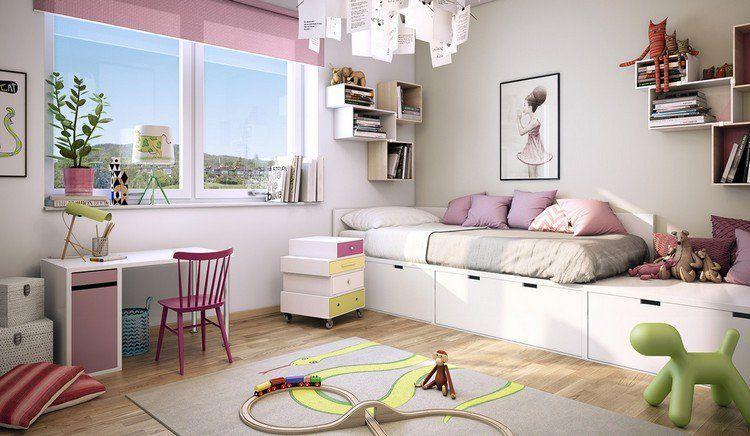 Chambre de fille ado aménagée avec un lit avec rangements tapis