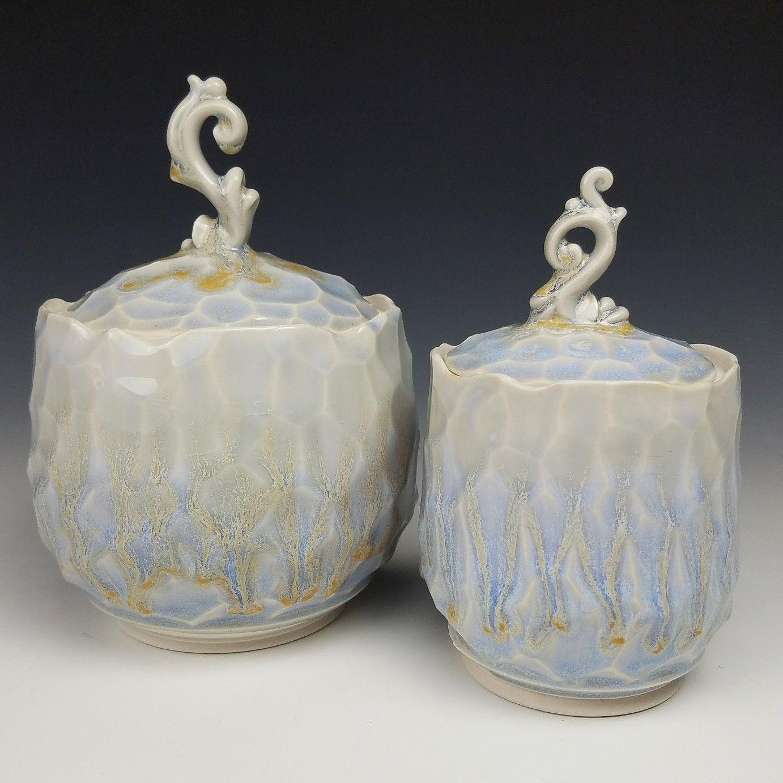 These look so icy! My new favorite glaze combo ❤️ #kaitlynceramics #kaiceramics #kai #kaitlynchipps #mudfire #madeatmudfire #handmade #handmadepots #madeinaskutt #jars #spriginjars #elvishjar #icyblue #icyjar #elegant #elegantjar