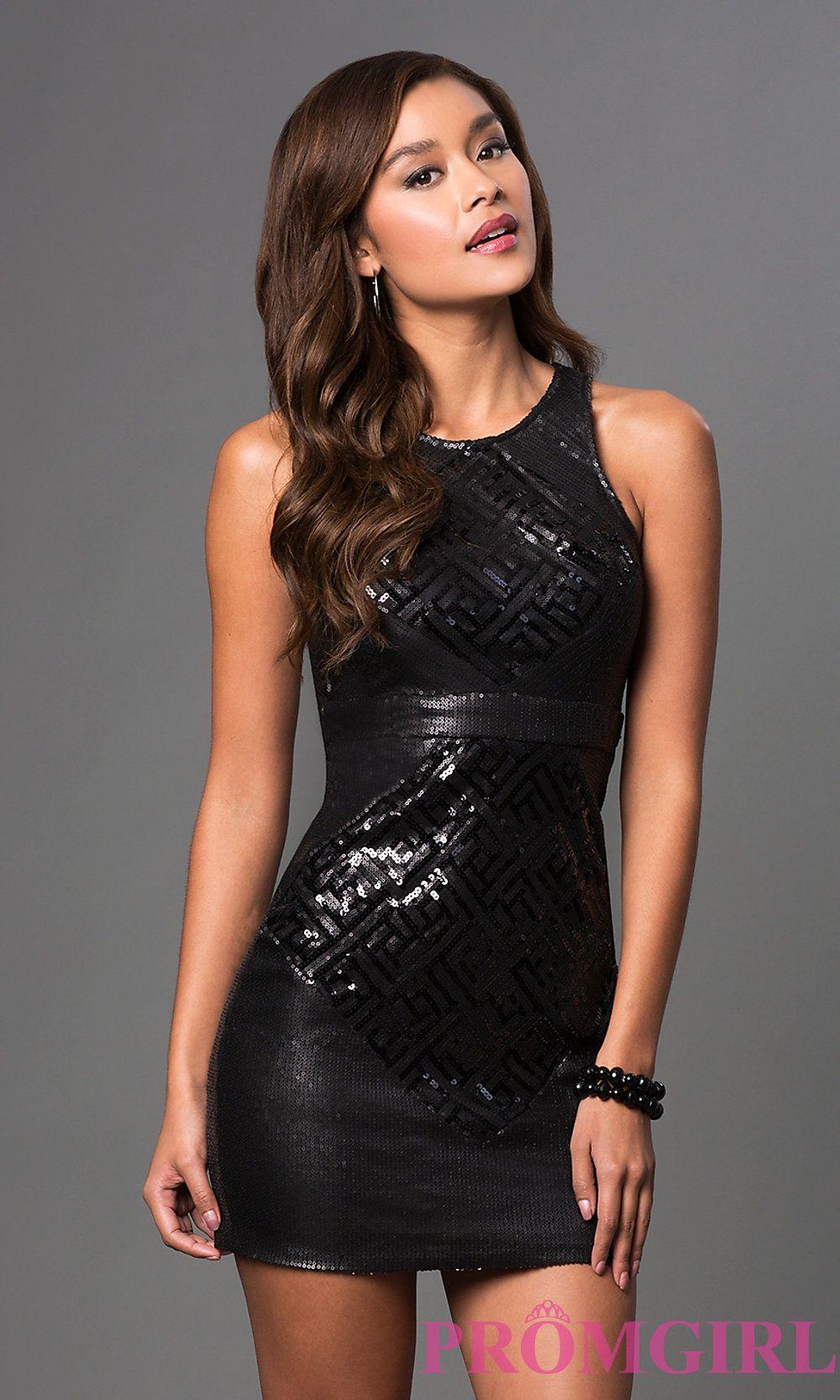 Image of short sleeveless scoop neck open back sequin dress front