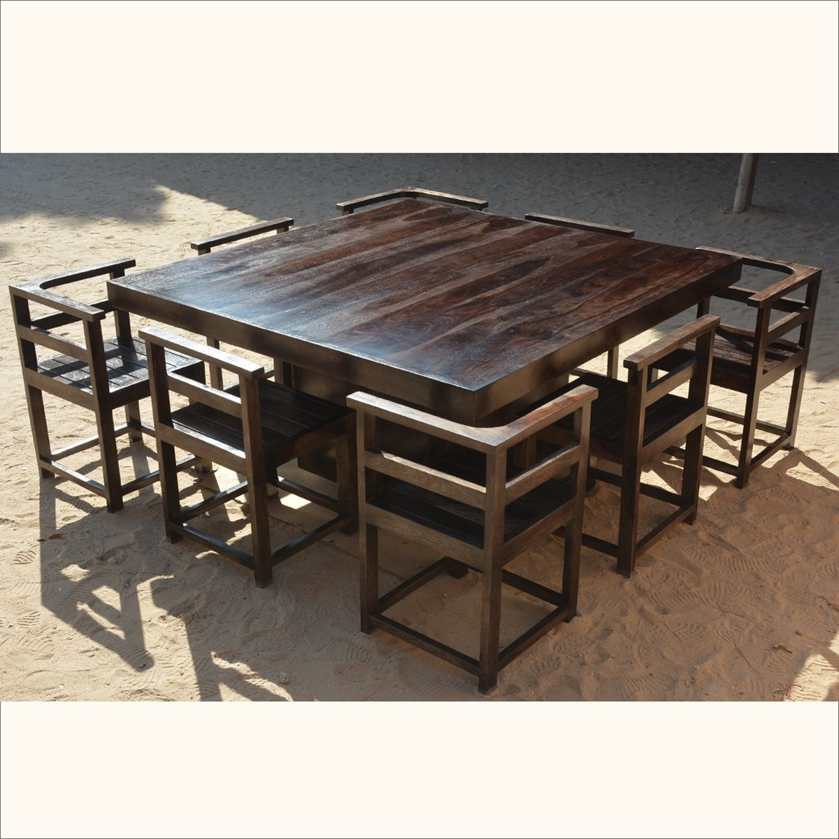 "8 Chair Square Dining Table: Modern Rustic Solid Wood 64"" Square Pedestal Dining Table & 8 Chairs"