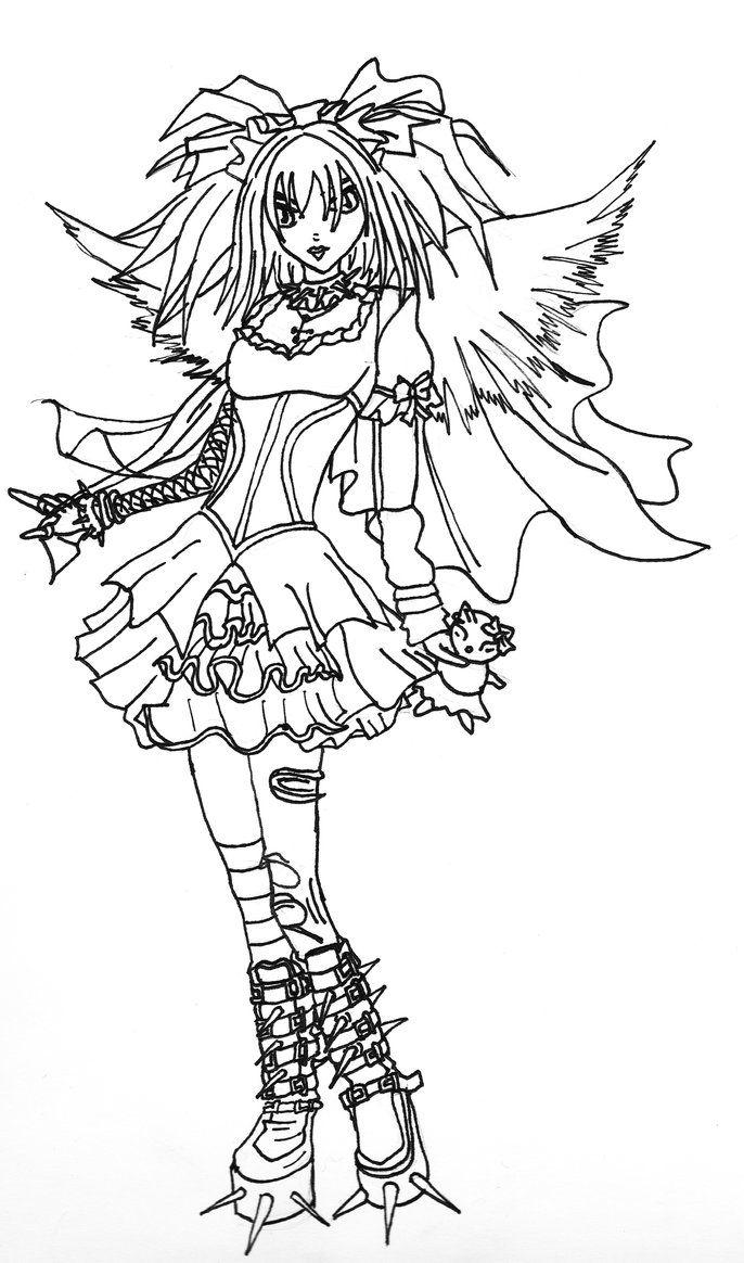 Gothic Angel (Line-art) by Kestrel29 on deviantART  Witch