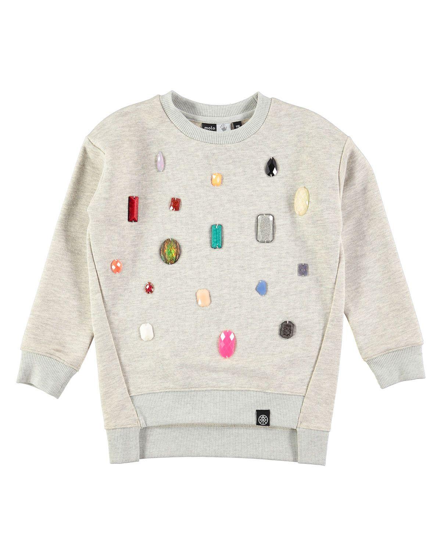 f7f15b8107eb50 Margith Melange Rhinestone Pullover Sweatshirt