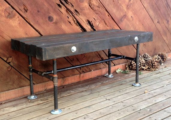 diy pallet iron pipe. 4x4 Wood And Iron Pipe Bench By NorthPeakIndustrial On Etsy, $475.00 Diy Pallet