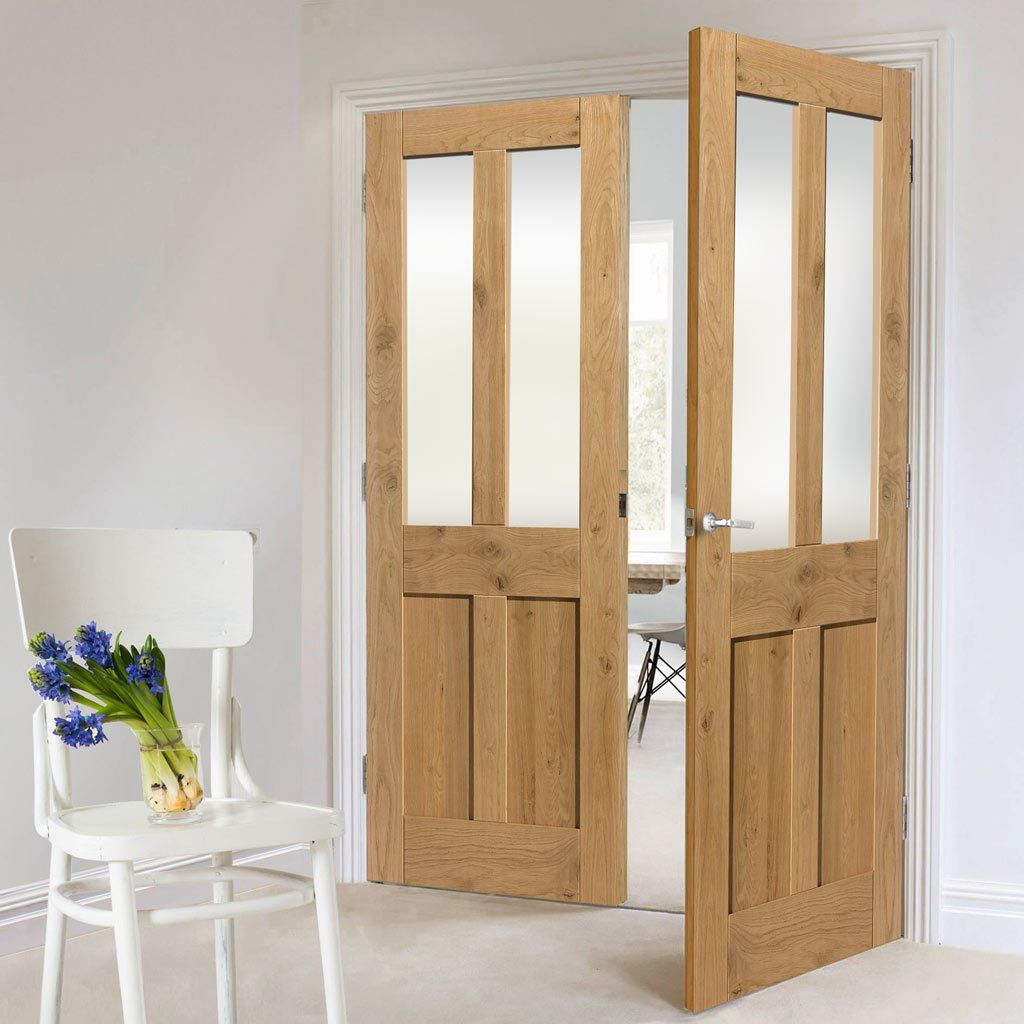 Rustic oak shaker 2 panel 2 pane prefinished door pair with clear rustic oak shaker 2 panel 2 pane prefinished door pair with clear safety glass planetlyrics Gallery