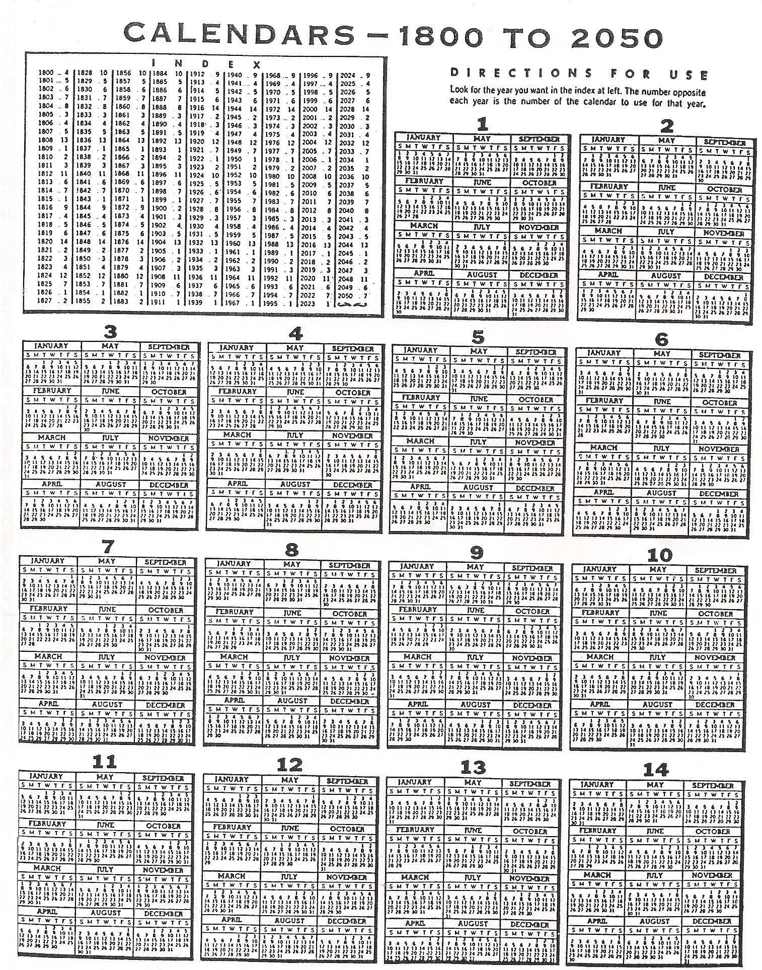 Perpetual Calendar 1800 To 2050 : Perpetual calendar to look for the year you want in
