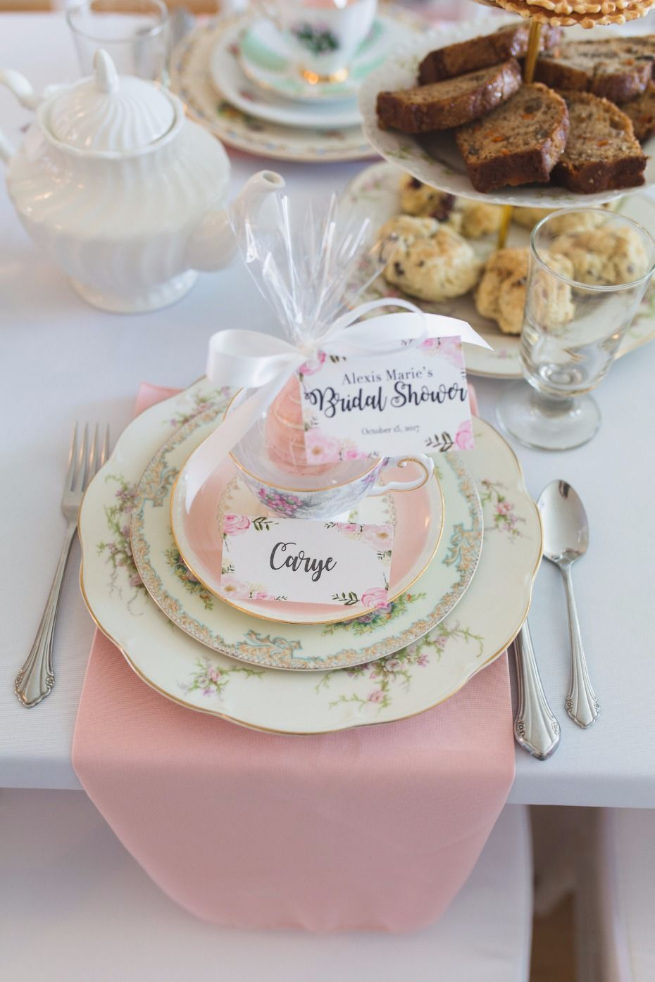 bridal shower teacup place setting with vintage dishware