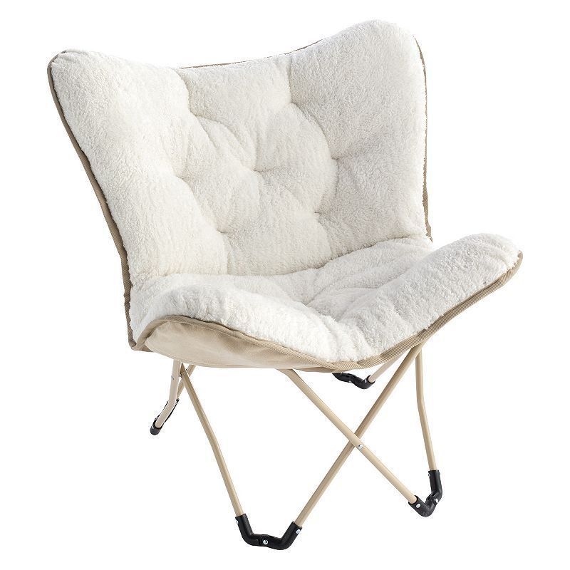 Simple By Design Memory Foam Butterfly Chair, White