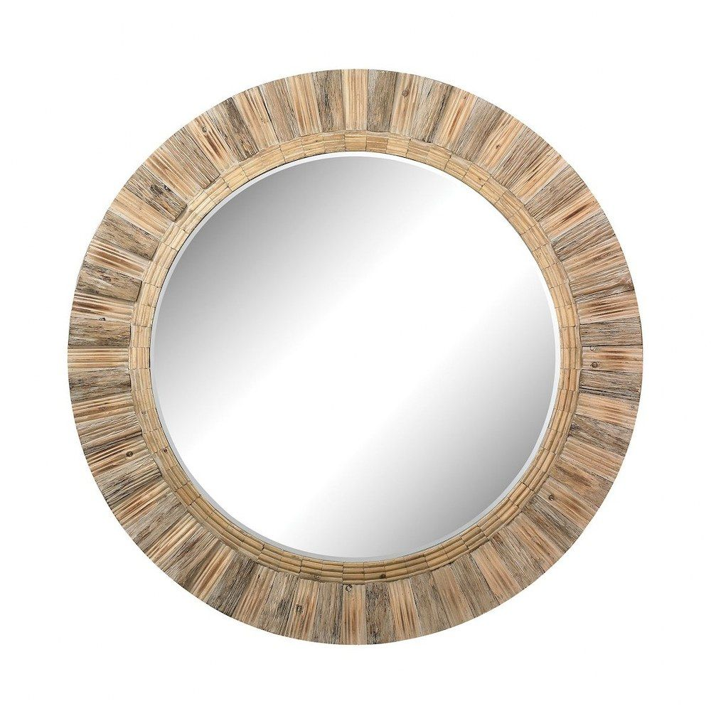 64 Inch Oversized Round Wood Mirror Artistic Style Glamour Mirror Natural Drift Wood Finish In 2021 Round Wood Mirror Wood Mirror Wood Wall Mirror