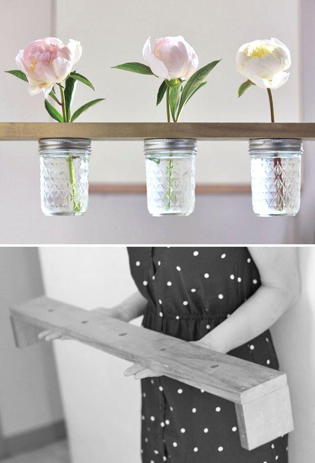 Mason Jar Flower Shelf Glass Jars Diy Mason Jar Flowers Diy Friday