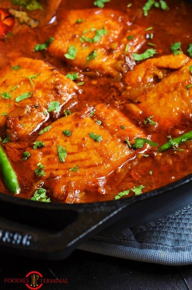 Indian Salmon Curry (Video+steps) | Easy Salmon Curry | Foodies Terminal » Foodies Terminal #indianfood