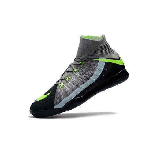 709f4c783c46f Botas De Futbol Sala Nike HypervenomX Proximo II DF IC Negras Grises Verdes