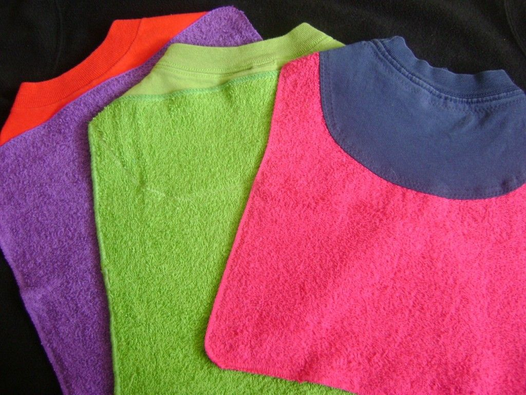 Washcloth bibs, upcycled old T's
