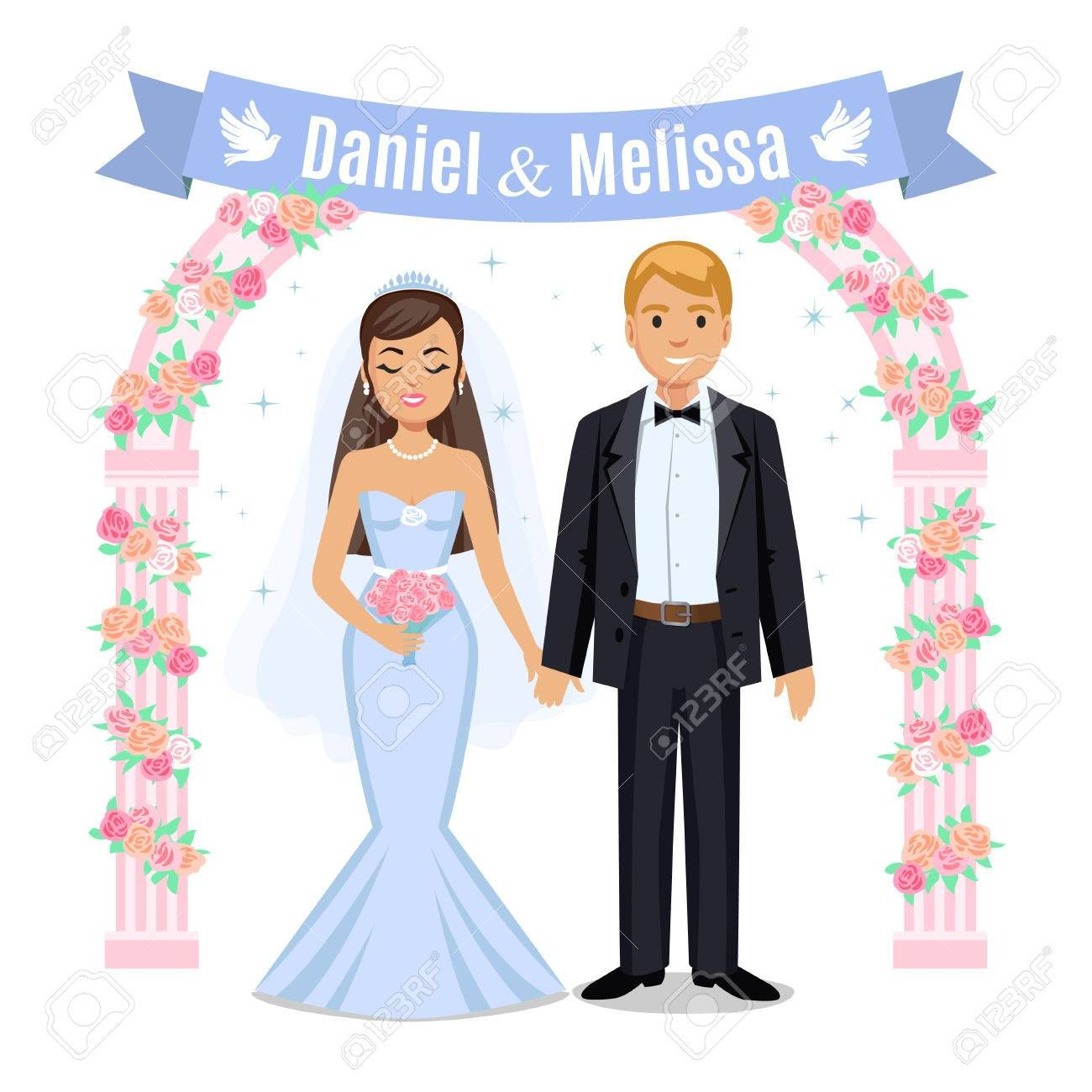 Happy Wedding Couple Wedding Couple And Floral Frame Bride And Groom On Their Wedding Day Wedding Couple Vector Illustration Isolated On White Background Cu Bride And Groom Cartoon Wedding Couples Blue