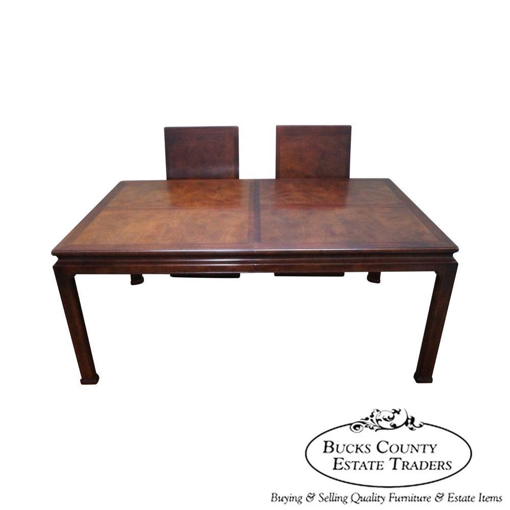 Henredon Asian Influenced Mahogany & Burl Wood Dining Table ...