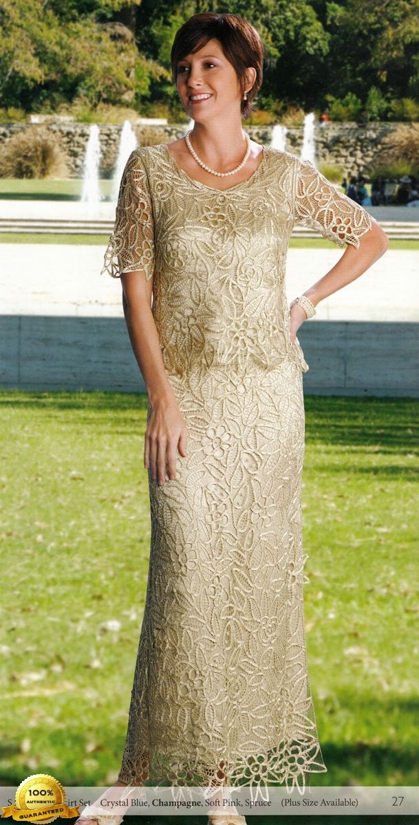 Soulmates Crochet Beaded Silk Lace Ankle Length 2 Pc Formal Dress Missy Plus Sizes