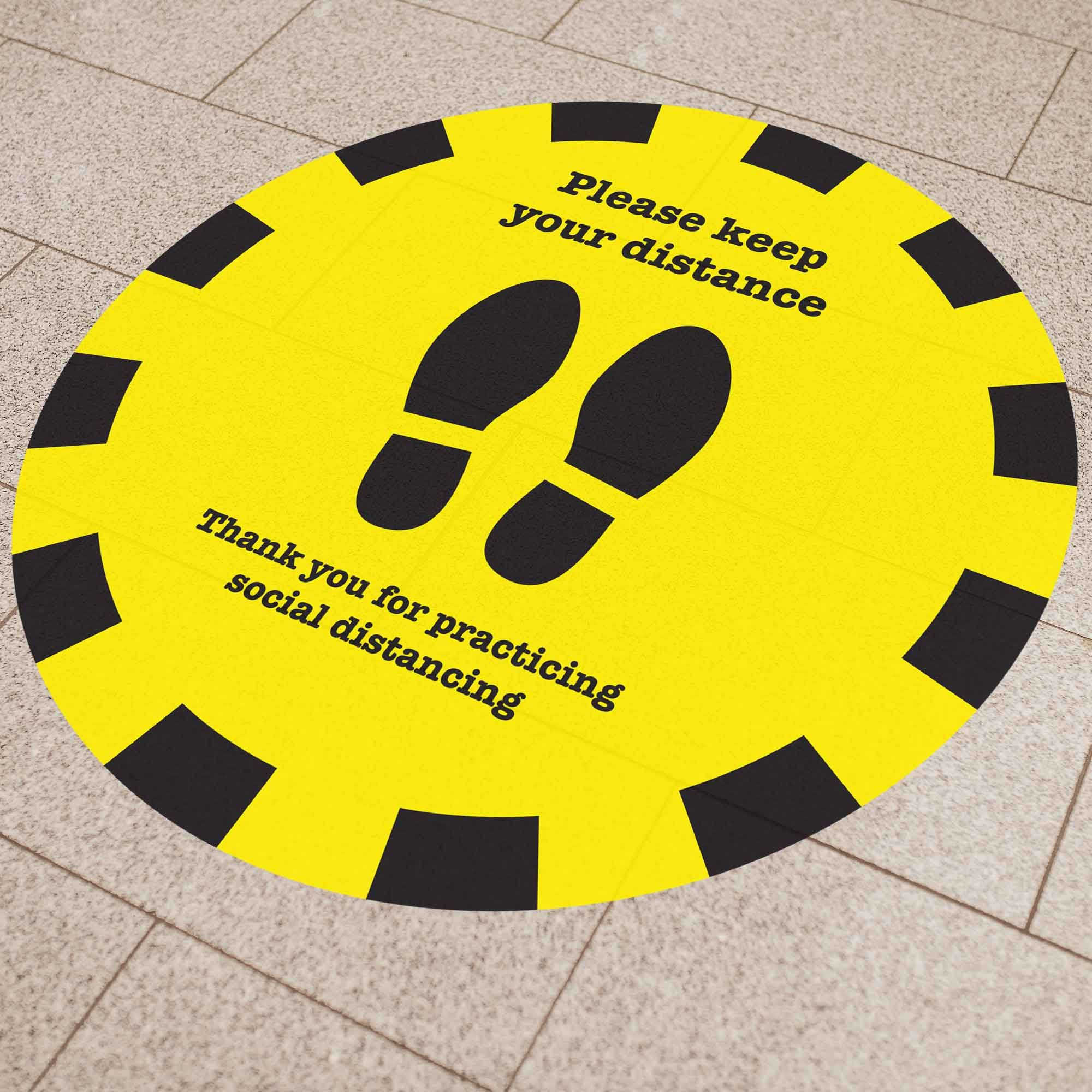 Social Distancing Floor Stencil to Create Your Own Floor Signage