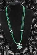 Green Seabead layered necklace with Turtle