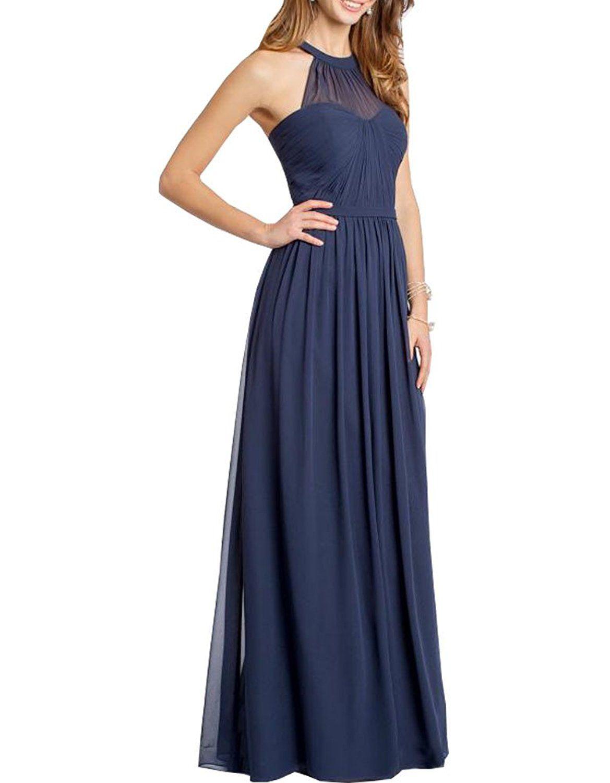 Lilybridal womenus chiffon halter bridesmaid dress long evening gown