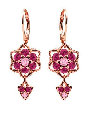 Elegant And Stylish These Flower Shaped Dangle Earrings Are Gracefully Studded With Light Rose Fuchsia Swarovski Crystal Earrings Stunning Earrings Earrings