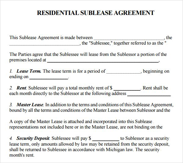 Printable Sample Sublease Agreement Template Form Real Estate