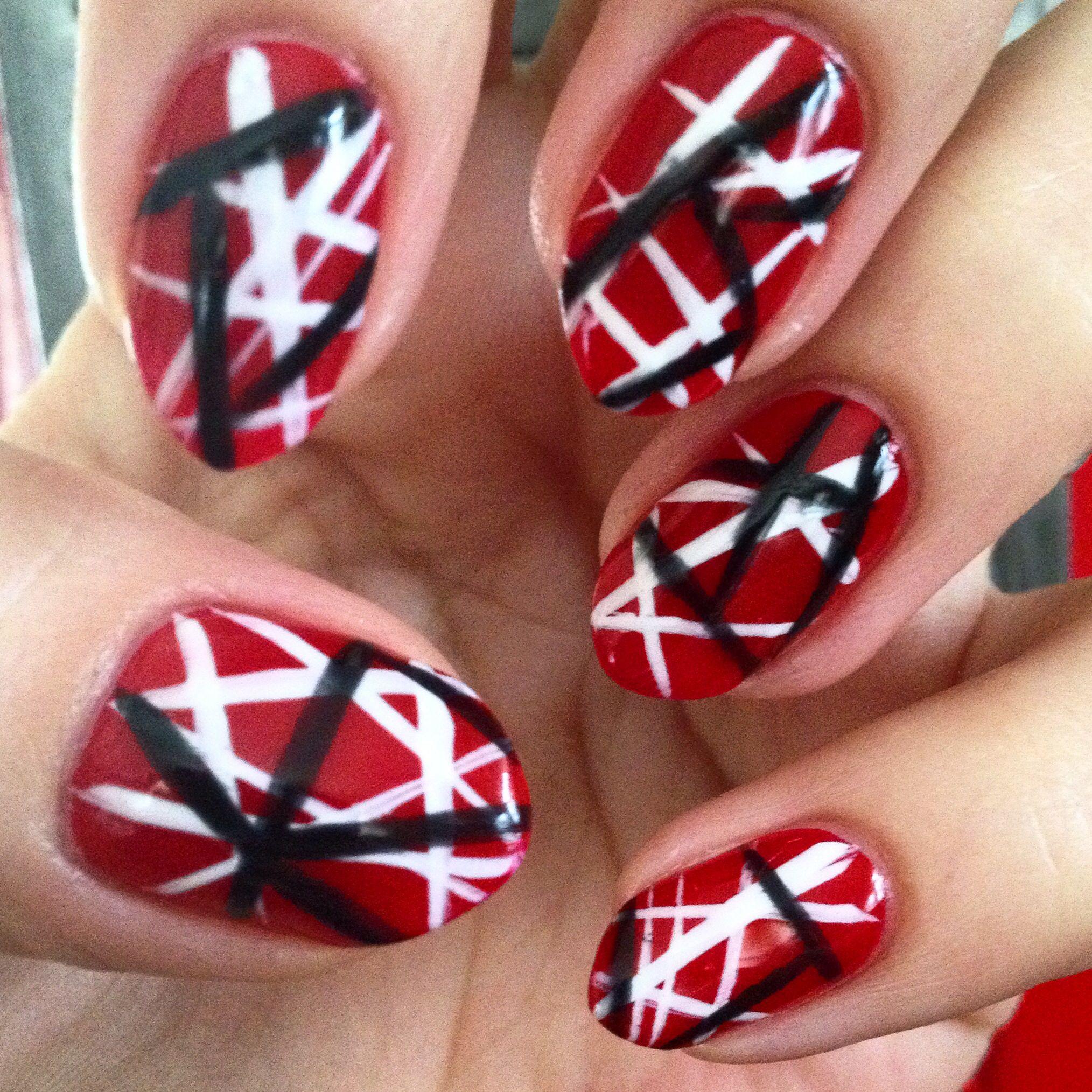 Inspired By Edward Van Halen S Kramer 5150 Guitar Opi In Big Apple Red Essie In Blanc And Licorice Essiepolish Nail Designs Nail Art Essie Polish