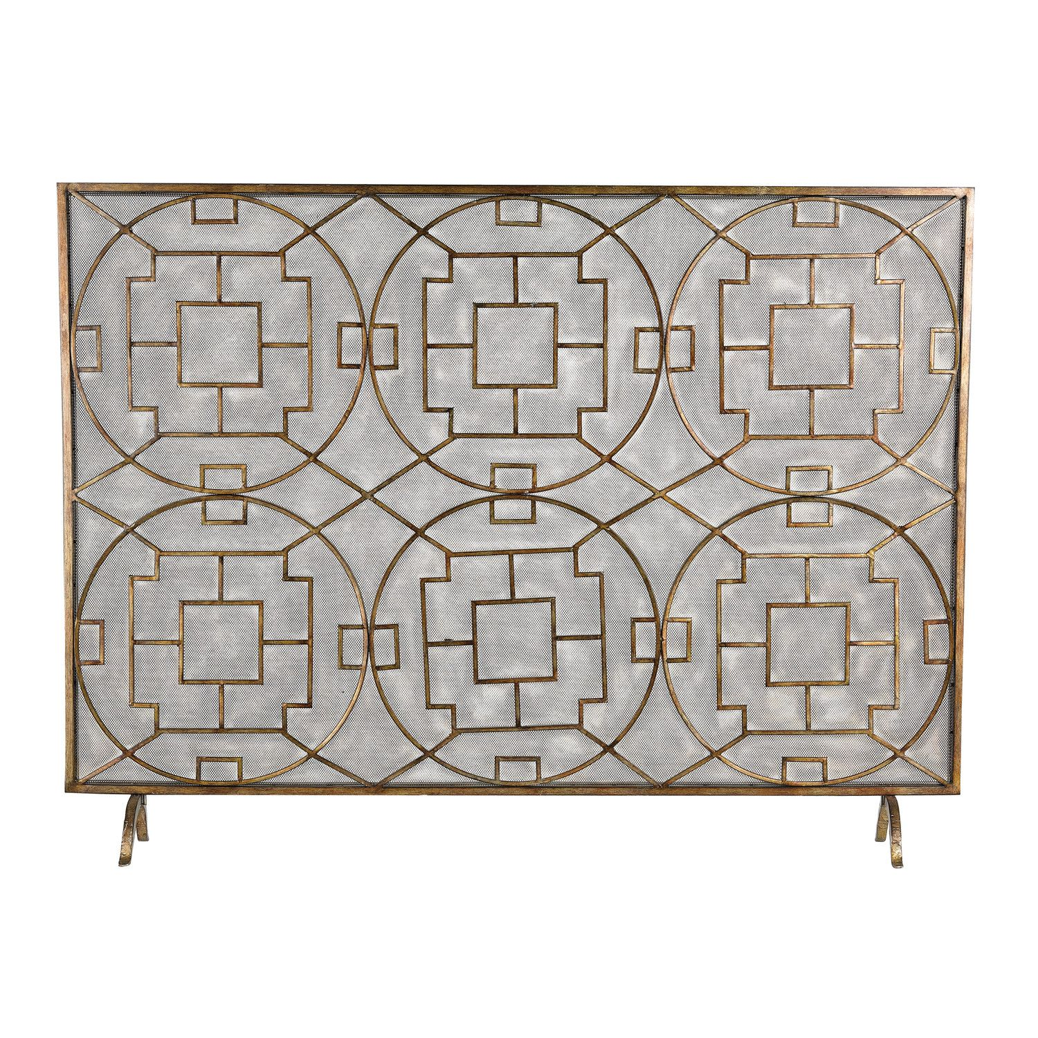 rockwell single panel fireplace screen