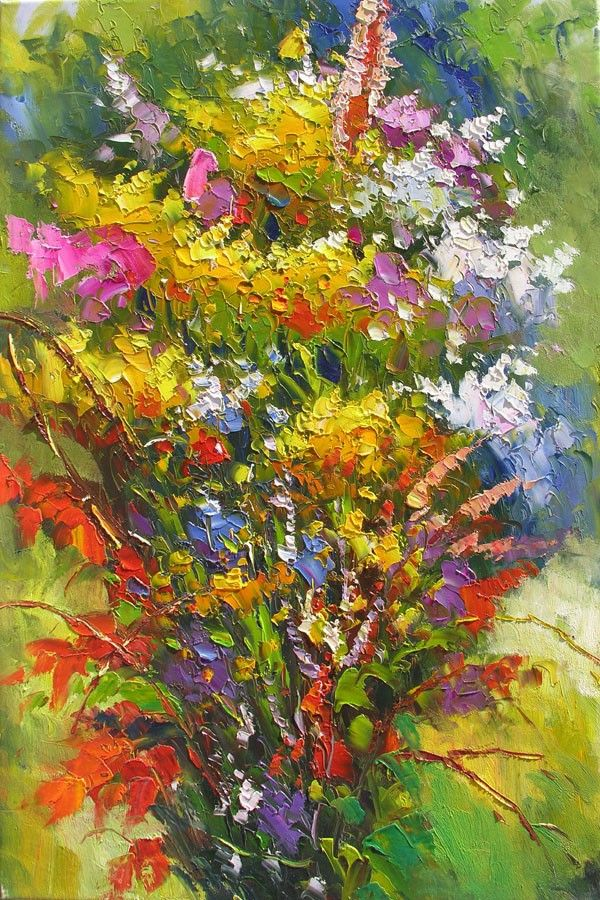 Original Oil Painting Colourful Flowers Yellow Pink White Purple ...