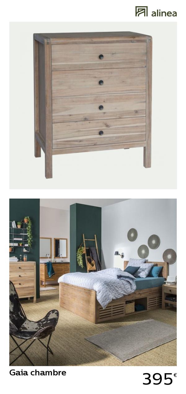 alinea gaia chambre commode en acacia 4 tiroirs meubles chambre commodes alinea